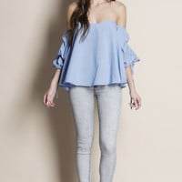 Attraction Off Shoulder Ruched Sleeve Top