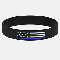 US Flag Thin Blue line Motivational Wristband