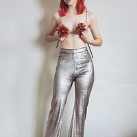 Hells Bells - Metallic silver bell bottoms wide leg pants - disco
