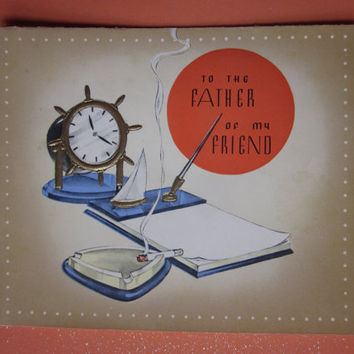 Vintage Unused Father's Day Greeting Card Father's Day To the Father of My Friend Design by Rust Craft Boston, USA