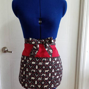 Diner - waitress - country - kitchen - shop - coffee - shop - pinup - rockabilly - retro - vintage - style - half - apron - w/ - pockets