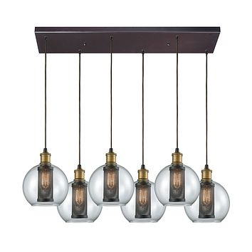 14530/6RC Bremington 6 Light Rectangle Pendant In Tarnished Brass/Oil Rubbed Bronze With Clear Glass And Perforated Metal Cage