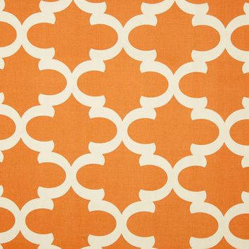 Orange trellis pillow cover with white morrocan print, fabric both sides, all sizes available up to 24x24