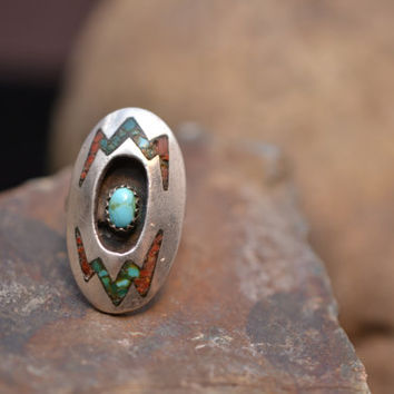 Signed Native American Shadowbox Ring with Crushed Turquoise and Coral Accents