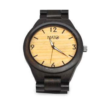 Mato Eco-Friendly Handmade Wooden Strap Dark Ebony Wood Wrist Watches
