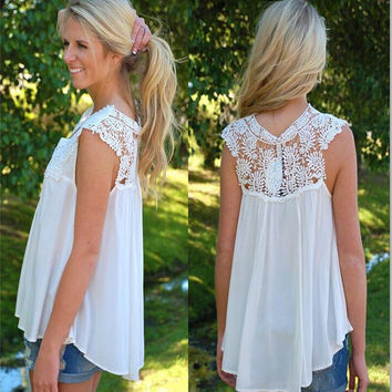 White Cut Out Lace Sleeveless Chiffon Shirt