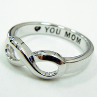 Infinity Ring, Mothers Day Gift,  LOVE YOU MOM,  great gift for mother in law, grandma, mothers infinity ring