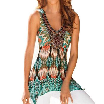New Arrival!!   Women's Pretty Sleeveless Printed Summer Top.     Available in Sizes Small to 3XL.    ***FREE SHIPPING***