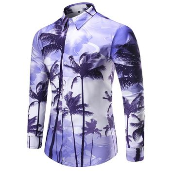 Coconut Tree Print Purple Shirt Beach Casual Style Man Blouse Handsome Man Party Shirts Korean Style Tide Boy Slim Tops 2018 New