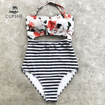 CUPSHE Open Lilies Flora Print One-piece Swimwear Women Cutout Back Tied Bow Halter Monokini 2019 Beach Bathing Suits Swimsuits