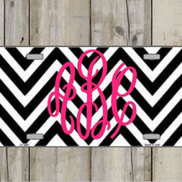 Monogram License Plate - Chevron Personalized Monogrammed License Plate Car Tag - Custom - Monogram - Preppy - Pattern - Car - Jeep