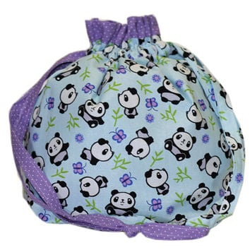 NEW Panda Knitting Bag for Two (2) at a Time Knitting | Project Bag with Divider | Squared Knitting Project Bag | Knitting Organizer