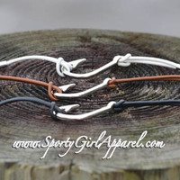 Catch Me Nautical Silver Fish Hook Bracelet
