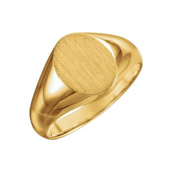 10k Yellow Gold Oval Solid Back Signet Ring