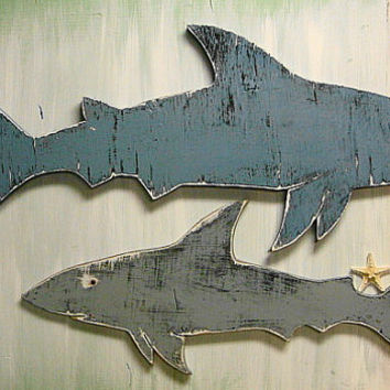 Shark Sign Large Beach House Wall Art Coastal Seaside Nautical by CastawaysHall