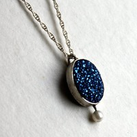 Supermarket - Petite Blue Drusy Pendant with Pearl Stalk from Rachel Pfeffer Designs