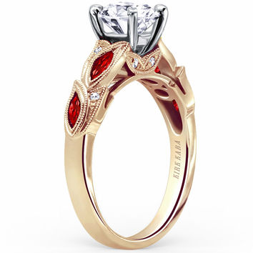 "Kirk Kara ""Dahlia"" Marquise Cut Red Ruby Diamond Engagement Ring"