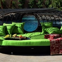 Patio Furniture | Handcrafted Outdoor Wicker Daybed | For Better Homes and Gardens | Rose Garden Seating | Loveseat Green