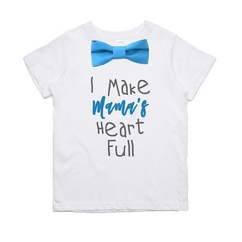 Mothers Day Shirt Toddler Boy Cute Outfits with Bow Tie and Saying