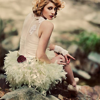 Feather Tu Tu and Floral Mesh Non Traditional wedding by CGHeaven