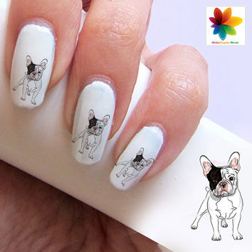 French bulldog, Decal, 60  Waterslide stickers Decal Nail,  crystal clear background, three size