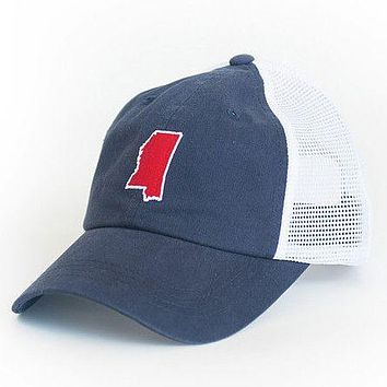 Mississippi Oxford Gameday Trucker Hat in Navy by State Traditions