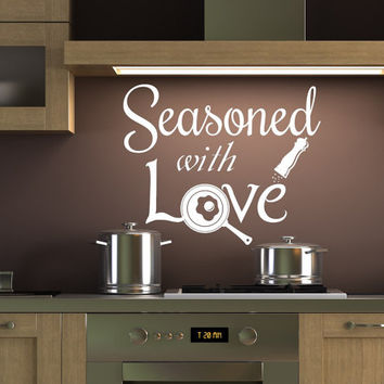 Quote Wall Decals for Kitchen Sticker Vinyl Lettering Seasoned with Love Decal Cafe Home Decor T61
