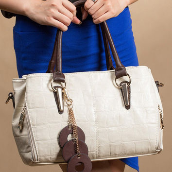 Side Zipper with Ring Accesorries Leather Handbag