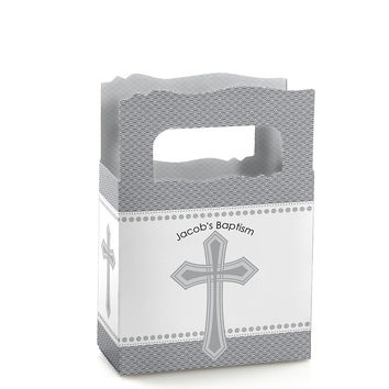 Delicate Blessings Cross - Personalized Baptism Mini Favor Boxes
