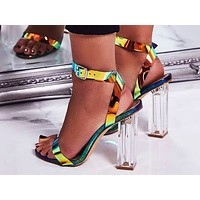 Fashion hot women's sandals with open toes and coloured thick high heels