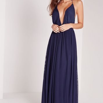 Missguided - Strappy Pleated Plunge Maxi Dress Navy