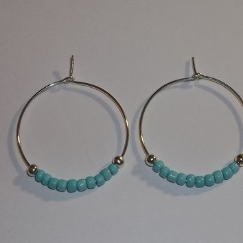 Turquoise Glass Beaded Silver Plated 30mm Artisan Crafted Hoop Earrings