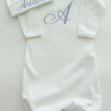 Personalized Baby Girls or Boys Monogrammed Keepsake Nightgown and Hospital Cap - Baby Shower Gifts - Embroidered - Name - Gender Neutral
