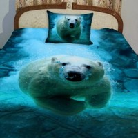 Anlye Nautical Bedding Set 2 Sides Printing 3d Visual Desiger of the White Polar Bear Swim Blue Ocean Coverlet with 2 Silk-like Pillow Cases Full