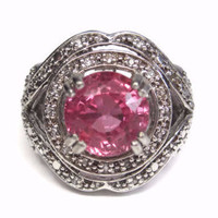 Huge Pink Sapphire Ring Sterling White Topaz Size 6