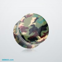Woodland Camouflage Double Flared Ear Gauge Plug