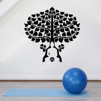 Vinyl Wall Decal Buddha Tree Lotus Buddhism Meditation Room Stickers Mural Unique Gift (ig5174)
