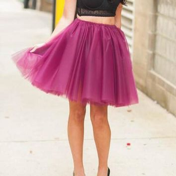 New Purple Grenadine Pleated High Waisted Tulle Tutu Homecoming Party Cute Elegant Skirt