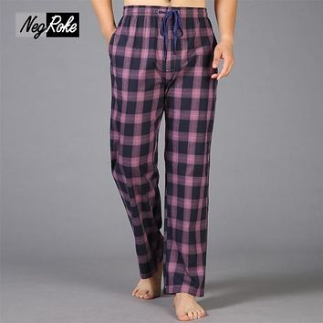 Summer 100% cotton casual plaid sleep bottoms men simple pijamas lounge trousers sheer men sleep pants Plus size XXL 100KG
