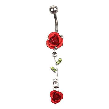 BELLY RING Piercing Jewelry Navel Ring Double Rose Leaves Red
