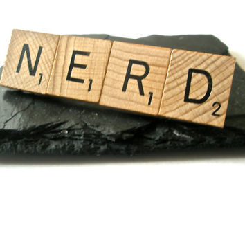 NERD Scrabble letter Tie Bar Hair Slide tile jewellery upcycled Letter GEEK wear Statement Jewellery