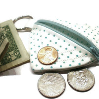 Aqua dots heart pouch, zippered coin purse, heart shaped purse, heart change purse, heart key chain, pouch key chain, coin purse key chain