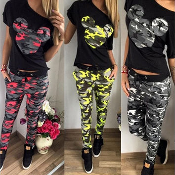 Women Clothing Set Flower Floral Print Mikey print Short Sleeve T Shirt Tops& Pants Trousers Spring Summer Suit Set [9210698755]