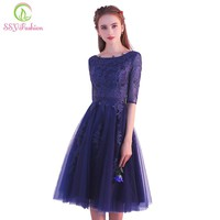 Fashion Elegant Short Lace Cocktail Dresses The Bride Banquet Navy Blue Half-sleeved Appliques Knee-length Party Formal Gown
