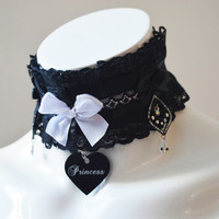 Kitten play collar - Dark princess - ddlg kittenplay BDSM proof choker with engraved tag, lace and crystals - daddy kink pet play sexy royal