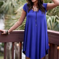 The Last Song Royal Blue Casual V-Neck T-Shirt Dress