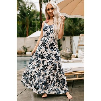 Unlike Any Other Printed Ruffle Maxi Dress (Taupe/Navy)