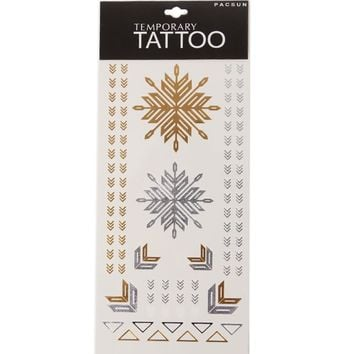 With Love From CA Chevron Flash Tattoos - Womens Scarves - Gold And Silver - One