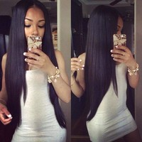 Eayon Hair Virgin Hair Full Lace Wig Brazilian Remy Human Hair Straight Hair Wigs for Women 130% Density 12 inch Natural Color