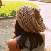 beige hat , Caramel hat , Brown Chunky hand knit Hat light Brown hat